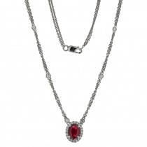 18K White Gold Ruby Necklace