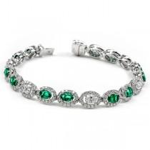 18K White Gold Emerald Bracelet