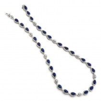 18K White Gold Sapphire Necklace