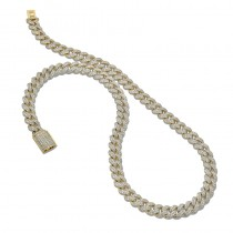 18K Yellow Gold Diamond Mens Necklace