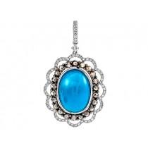18K Two-tone Turquoise Pendant