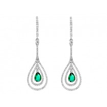 18K White Gold Long Emerald Earrings