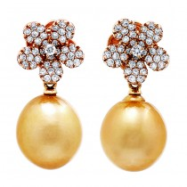 18K Rose Gold Gold Pearl Earrings