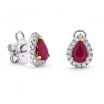 18K Two-tone Ruby Earrings