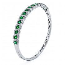 18K White Gold Emerald Bangle