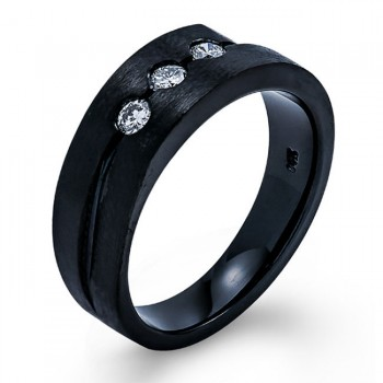 18K Black Rhodium Diamond Men's Band
