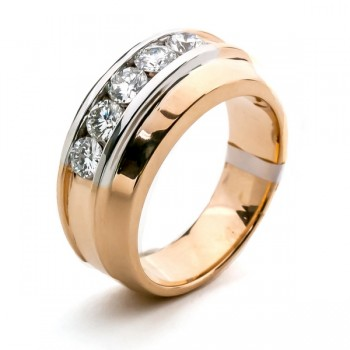 18K Two-tone Gold Diamond Men's Band