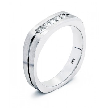 18K White Gold Diamond Mens Band