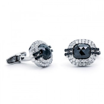 18K White Gold Black Diamond Cufflinks