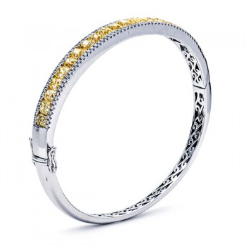 18K White Gold Yellow Diamond Bangle