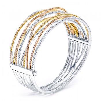 18K Tri-Color Gold Diamond Bangle