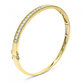 18K Yellow Gold White Diamond Bangle