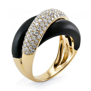 18K Yellow Gold Onyx Stone Band