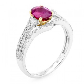 18K White Yellow Gold Ruby Ring