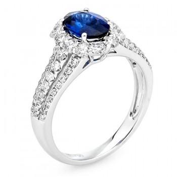 18K White Gold Sapphire Ring