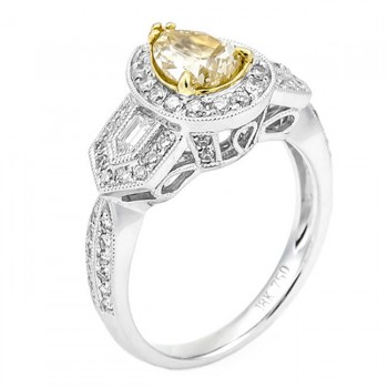 18k Two-tone Gold Yellow Diamond Ring