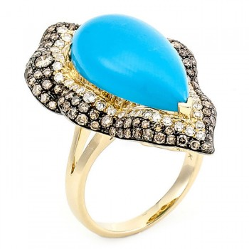 18K Yellow Gold Turquoise Ring