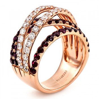 18K Rose Gold Ruby Band