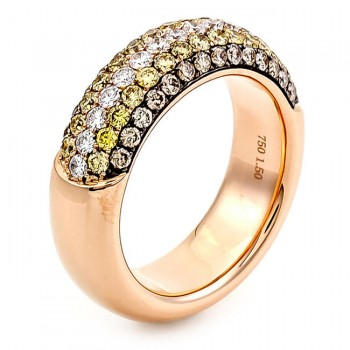 18K Rose Gold Yellow Diamond Band