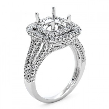 18K White Gold Semi-Mount for a 8x7.2mm Cushion Center