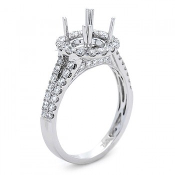 18K White Gold Semi-Mount for a 0.8ct Round Center