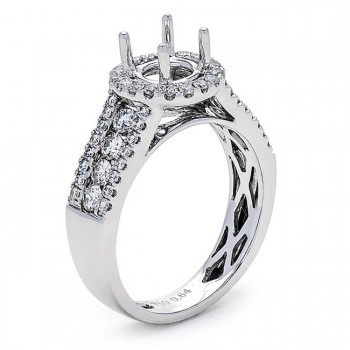 18K White Gold Semi-Mount for a 0.70ct Round Center