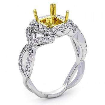 18K Two-tone Gold Semi-Mount for a 7.09x6.5x4.2mm Princess Cut Center