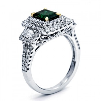 18K Two-tone Gold Emerald Ring