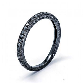 18K Black Rhodium Black Diamond Band