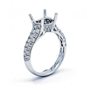 18K White Gold Semi-Mount for a 2.50ct Round Center