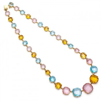 18K Yellow Gold Citrine Diamond Necklace