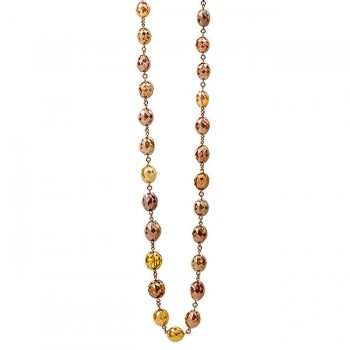 18K Rose Gold Multi Colored Fancy Diamond Bead Necklace