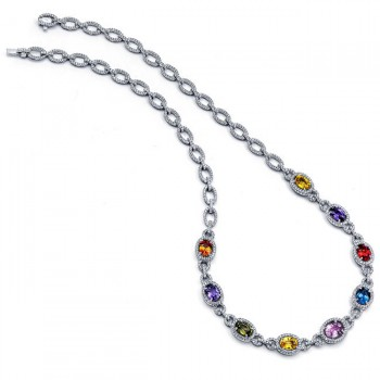 18K White Gold Fancy Sapphire Necklace