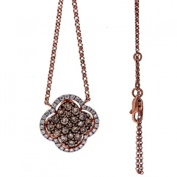 18K Rose Gold Brown Diamond Necklace