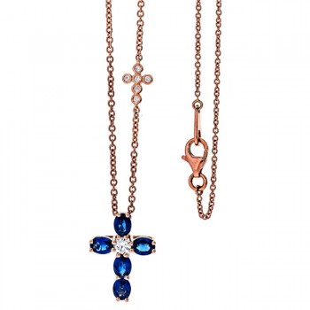 18K Rose Gold Sapphire Cross Necklace