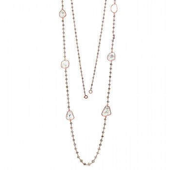 18K Rose Gold Fancy Diamond Beads Necklace