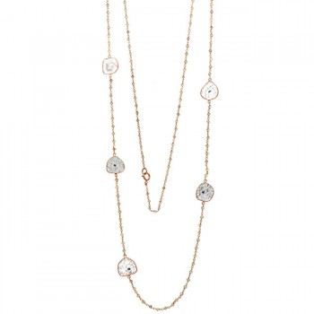 18K Rose Gold Fancy Diamond Slice Necklace