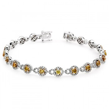 18K Two-tone Gold Yellow Diamond Bracelet