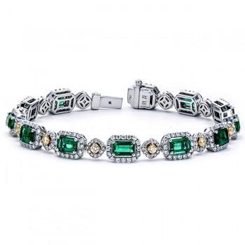 18K Two-tone Emerald Bracelet