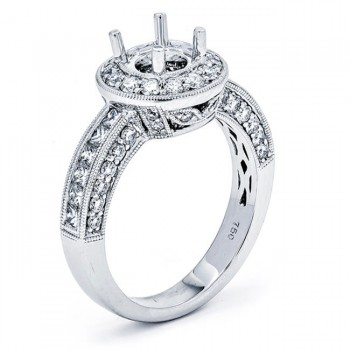 18K White Gold Semi-Mount for a Round Center