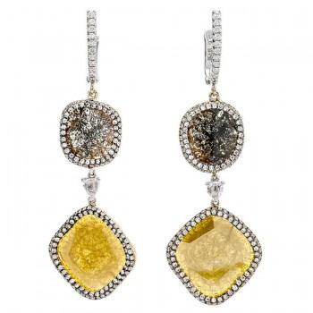 18K Two-tone Gold Flat Diamond Earrings