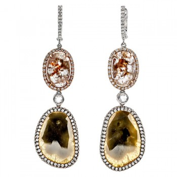 18K Two-tone Gold Flat Diamond Earrings