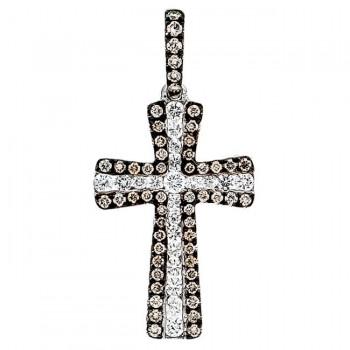 18K White Gold Brown Diamond Cross Pendant