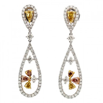 18K Tri-Color Gold Fancy Diamond Earrings