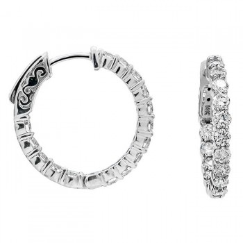 14 White Gold Diamond Hoops
