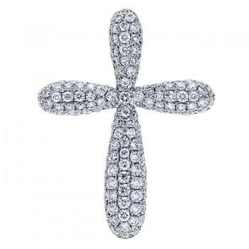 18K White Gold Diamond Cross Pendant