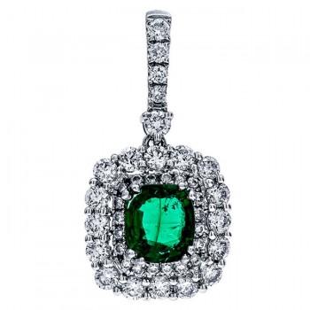 18K White Gold Emerald Pendant