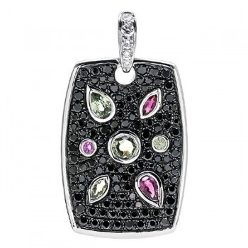 18K White Gold Ruby and Fancy Sapphire Pendant