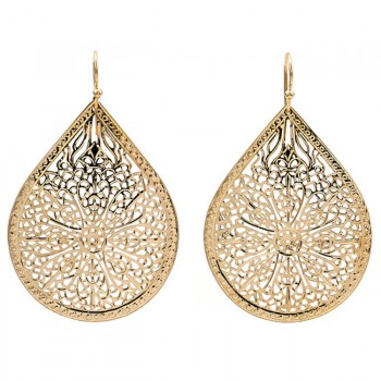 18K Yellow Gold Floral Cutout Earrings
