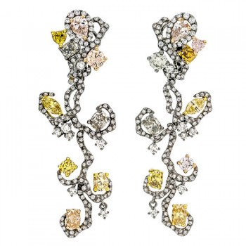 18K Black Rhodium Fancy Diamond Earrings